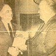 My maternal great-uncle, John Schwarz, was chief of police where I grew up. He was some type of roadblock expert wrote a book on how to set up successful roadblocks. Here, he is presenting it to J. Edgar Hoover.